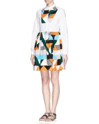 MSGM Geometric Colourblock Panel Shirt Dress - Lyst