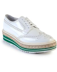 Prada | Leather Creeper Brogue Espadrilles | Lyst