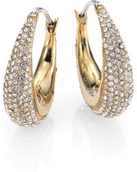 Michael Kors Brilliance Statement PavÉ Goldtone Huggie Hoop Earrings/0.9 gold - Lyst