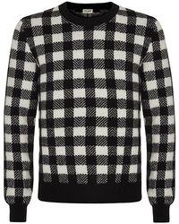 Saint Laurent Black Checkerboard Jumper - Lyst