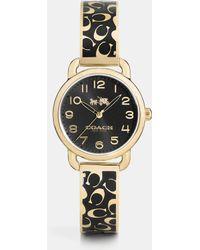 COACH - Delancey 28mm Enamel Signature C Gold Plated Bangle Watch - Lyst