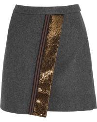 J.Crew Origami Sequin-paneled Felt Mini Skirt - Lyst