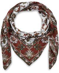 Eskandar - Light Beige Floral Print Silk Scarf - Lyst