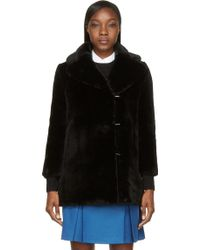Carven Black Fur Bracelet Sleeve Coat - Lyst