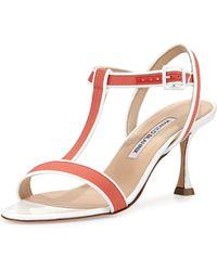 Manolo Blahnik Dador Linen T-Strap Sandal - Lyst