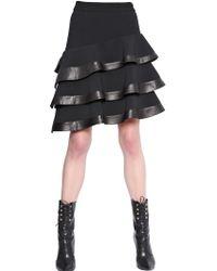Emanuel Ungaro Stretch Wool Crepe & Nappa Leather Skirt - Lyst