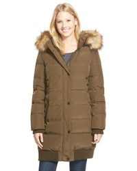 7 For All Mankind - Elongated Down Bomber With Removable Faux Fur Trim Hood - Lyst