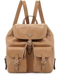 leather prada book bag