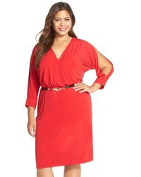 CALVIN KLEIN 205W39NYC - Cold Shoulder Belted Faux Wrap Dress - Lyst