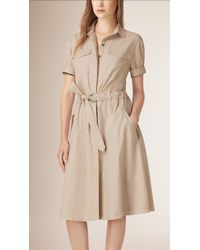 Burberry | Cotton Military Shirt Dress | Lyst