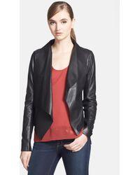 Trouvé Draped-Lapel Leather Jacket - Lyst