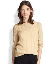 Ralph Lauren Black Label Cable-Knit Cashmere Sweater - Lyst