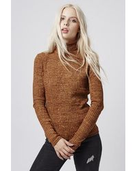 TOPSHOP - Ribbed Roll Neck Jumper - Lyst