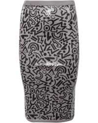 Sibling Tribal Print Sequin Pencil Skirt Pebble/Black - Lyst