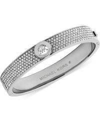 Michael Kors Crystal Pavê Logo Bangle Bracelet - Lyst
