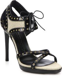 Burberry | Gauld Leather & Linen Lace-up Sandals | Lyst