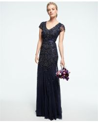 Adrianna Papell Cap-Sleeve Embellished Gown blue - Lyst