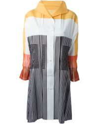 Issey Miyake Colour Block Striped Shirt Dress multicolor - Lyst