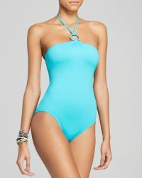 DKNY Cover Ring Solids Halter Maillot One Piece Swimsuit - Lyst