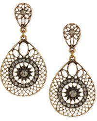 R.j. Graziano - Filigree Crystal Teardrop Earrings - Lyst