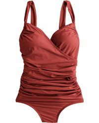 J.Crew Ruched Wrap One-Piece Swimsuit red - Lyst