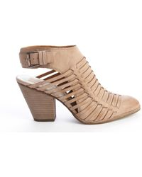 Dolce Vita Taupe Leather Harolyn Weaved Detail Strappy Ankle Boots - Lyst