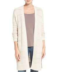 Caslon Open Stitch Long Cotton Cardigan in Natural | Lyst