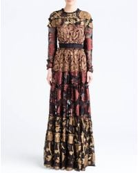 Lanvin | Embroidered Silk Maxi Dress | Lyst