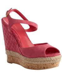 Gucci Pink Ssima Suede and Cork Wedge Sandals - Lyst