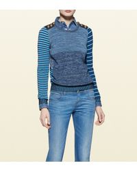 Gucci Patchwork Knit Long Sleeve Top - Lyst