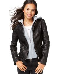 Wildflower - Faux-leather Layered Hoodie Jacket - Lyst