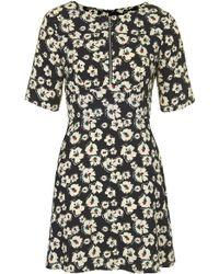 Topshop Zip Pansy Tea Dress - Lyst
