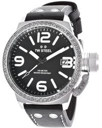 TW Steel - Women's Canteen Black Genuine Leather Black Dial - Lyst