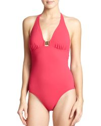 Tory Burch One-Piece Logo Swimsuit - Lyst