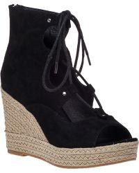 J/slides Colette Platform Wedge Sandal Black Suede black - Lyst