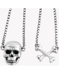 Tateossian - Sterling Silver Skull Necklace - Lyst