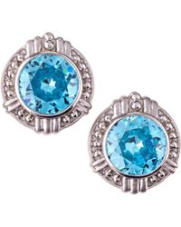 Judith Ripka Large Round Sky Blue Crystal Earrings - Lyst