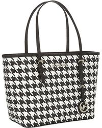 MICHAEL Michael Kors Small Houndstooth Jet Set Travel Tote - Lyst
