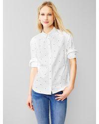 Gap Fitted Boyfriend Printed Oxford Shirt - Lyst