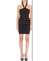 Balmain Halterneck Sheerstripe Dress Black - Lyst