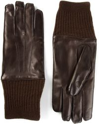 Giorgio Armani - Ribbed-Cuff Leather Gloves - Lyst