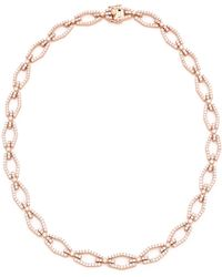 Fallon Brinkley Bar Link Necklace - Rose Gold/Clear pink - Lyst