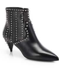 Saint Laurent Studded Leather Ankle Boots - Lyst