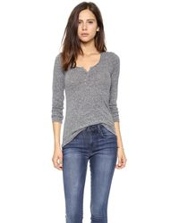 Stateside Marled Henley Heather Grey - Lyst