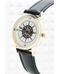 Urban Outfitters - Compass Watch with Black Strap - Lyst