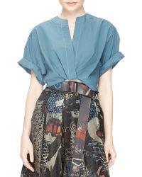 Donna Karan New York Contrast-Stitched Camp Shirt - Lyst