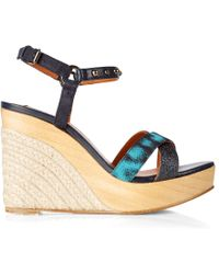 Lanvin | Embellished Leather Wedge Sandals | Lyst