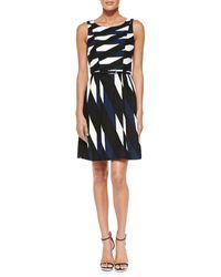 Trina Turk Medina Printed Belted Twill Dress - Lyst