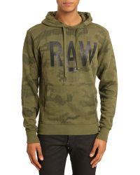G-star Raw A Camo Allover Khaki Hooded Sweater - Lyst