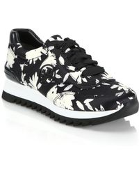 Tory Burch | Floral-print Platform Leather & Canvas Sneakers | Lyst